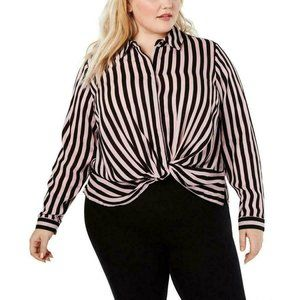 INC. 2X Top Pink Black Striped Button Down Shirt